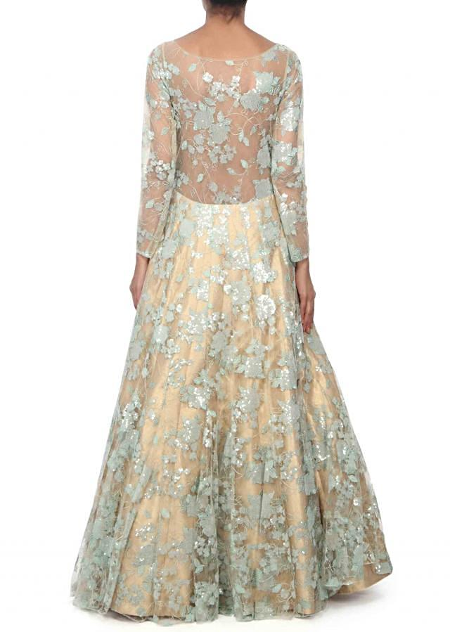 Gold gown feautring in rose motif embroidery only on Kalki
