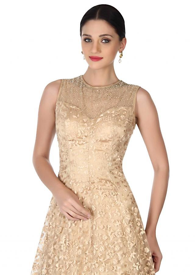 Gold gown in resham embroidered net only on Kalki