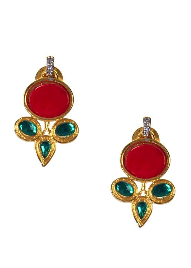 Gold-hued Earrings Embellished With Red and Aqua Blue Stones only on Kalki