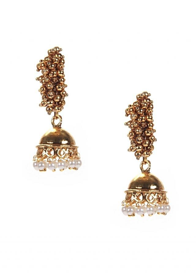 Gold Jhumki With Ghanthan And Pearl Hangingonly on Kalki