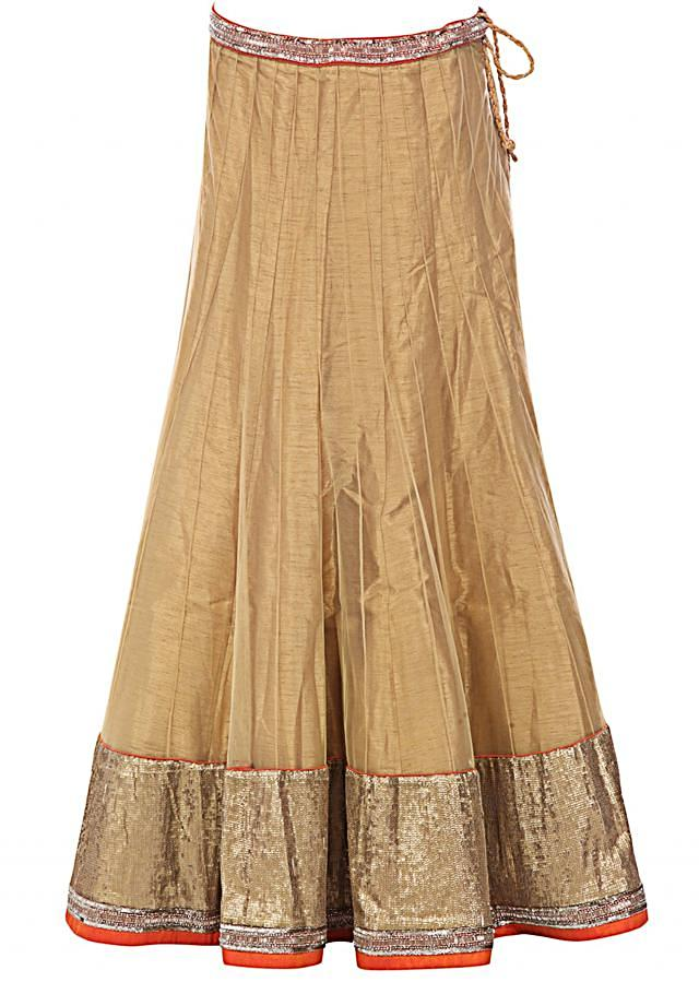 Gold lehenga embellished in sequin and zari embroidery only on Kalki