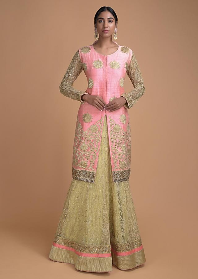 Gold Lehenga In Embroidered Net With Neon Pink Long Jacket Blouse In Applique Work Online - Kalki Fashion