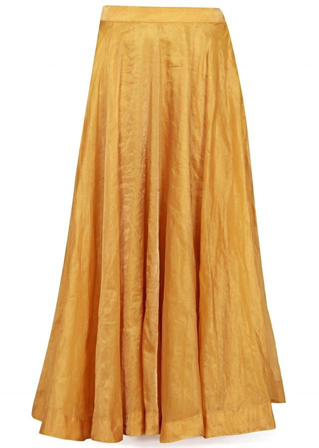 Gold lehenga in tissue silk with pink crop top blouse only on Kalki