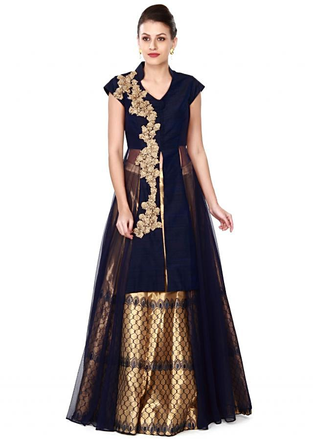 Gold lehenga with navy blue long embroidered blouse only on Kalki