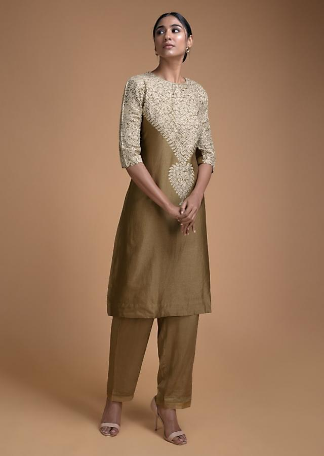 Gold Olive Straight Cut With Thread Embroidery In Floral Jaal On The Neckline Online - Kalki Fashion