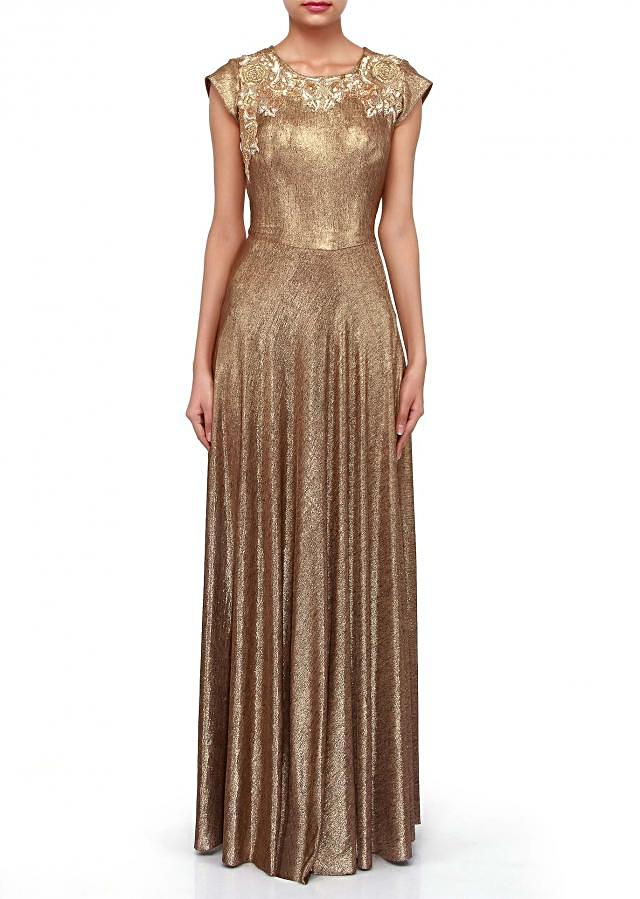 Gold outfit suit adorn in zari and sequin embroidery only on Kalki