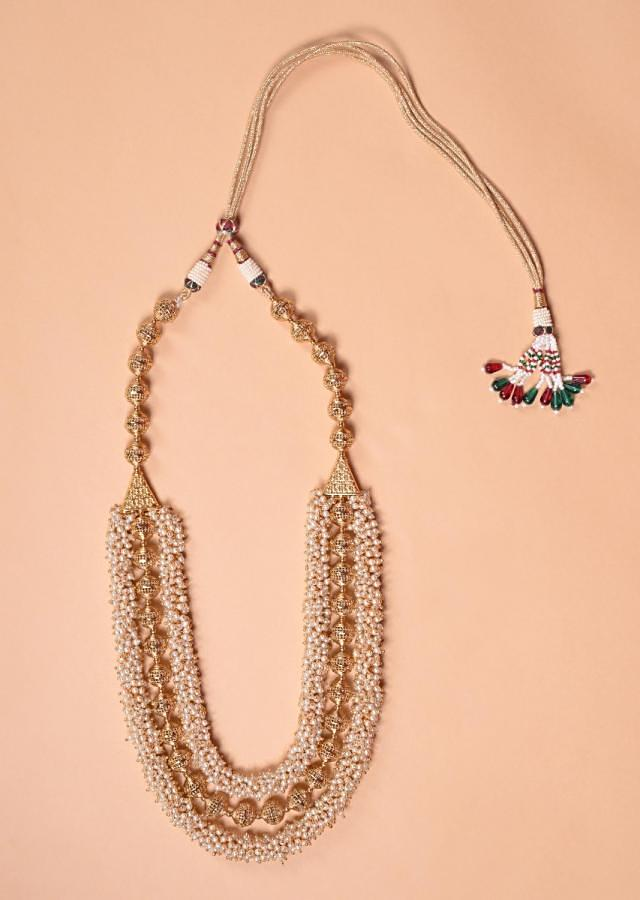 Gold Plated Carved Beads And Pearl Layered Necklace With Matching Jhumkas Online - Kalki Fashion
