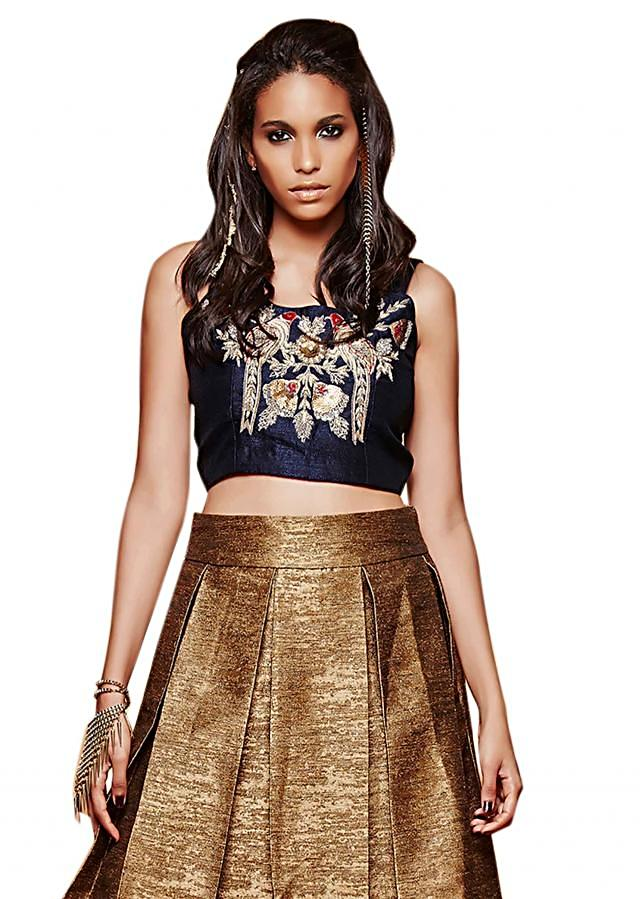 Gold pleated skirt with embroidered crop top only on Kalki
