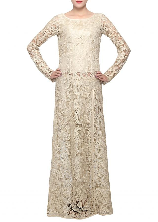 Gold straight fit suit enhanced in chantilly lace only on Kalki