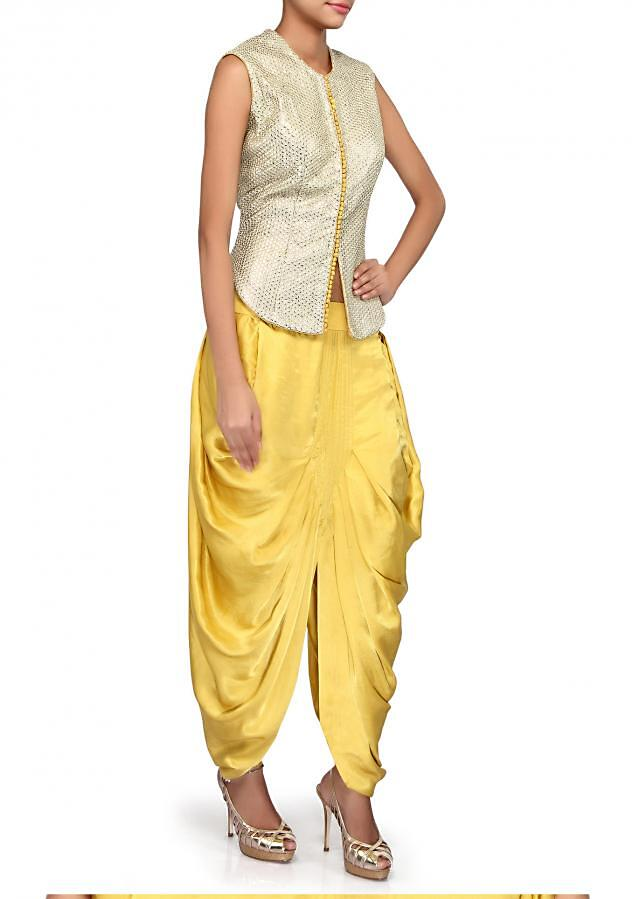 Gold and yellow suit adorn in sequin and zari embroidery only on Kalki