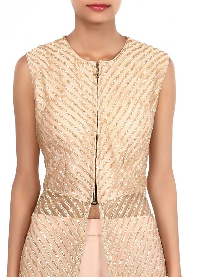 Gold suit adorn in sequin embroidery only on Kalki