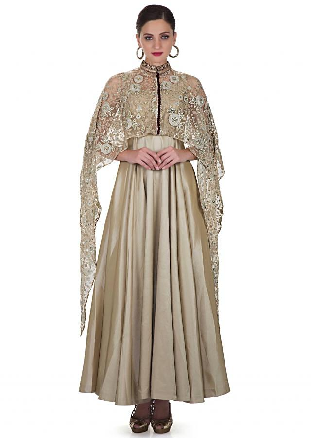 Gold Taffeta Dress Featuring an Embroidered Net Cape Only on Kalki