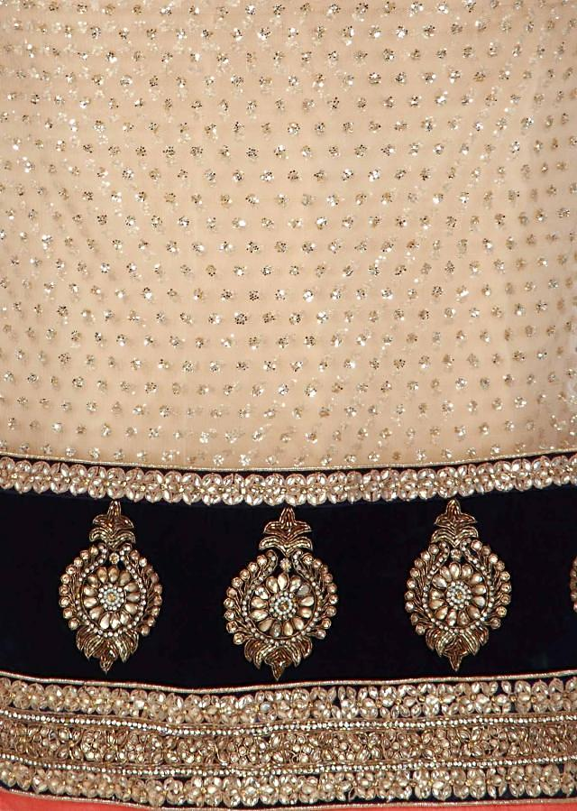 Gold unstitched suit adorn in sequin embroidery only on Kalki