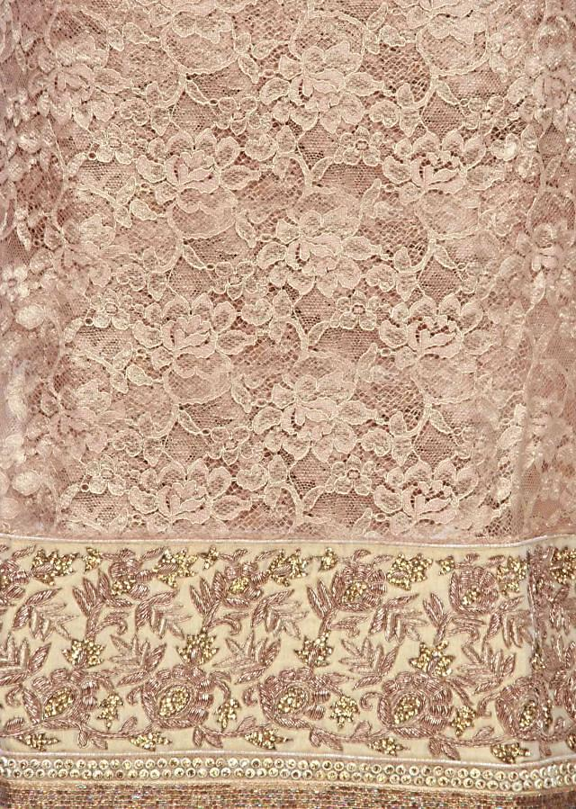 Gold unstitched suit with zardosi embroidery only on Kalki