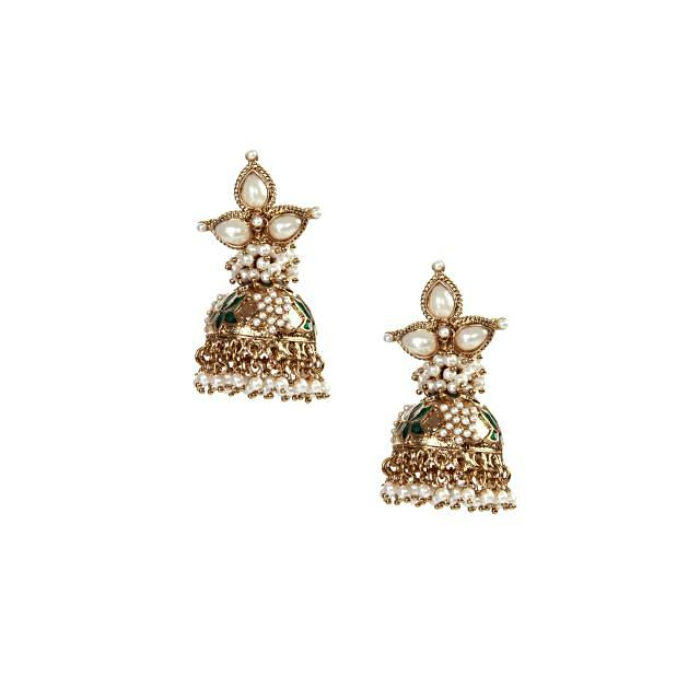 Gold and emerald finish cutwork jhumki earrings only on kalki