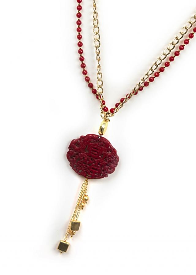 Gold and maroon beaded necklace only on Kalki