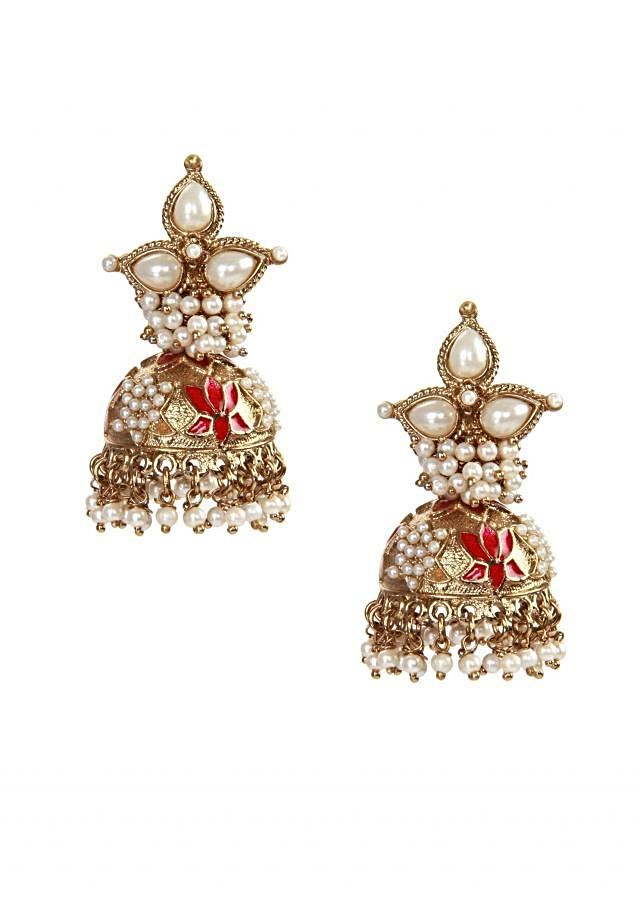 Gold and ruby finish jhumki earrings only on kalki