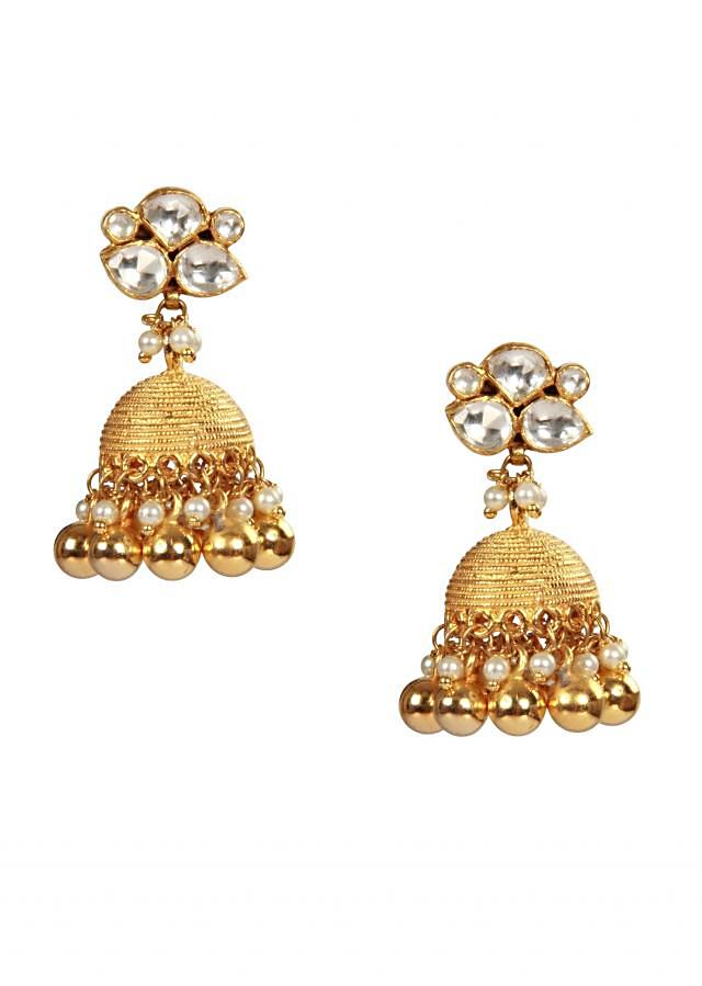 Gold beads and kundan jhumki by Ra Abta for Kalki