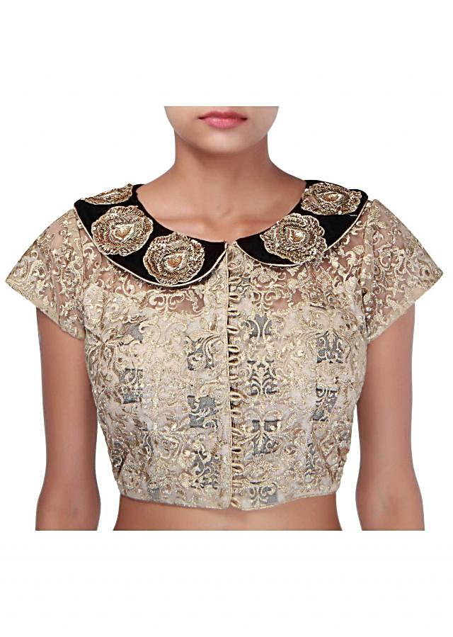 Gold blouse embellished in zari embroidery only on Kalki