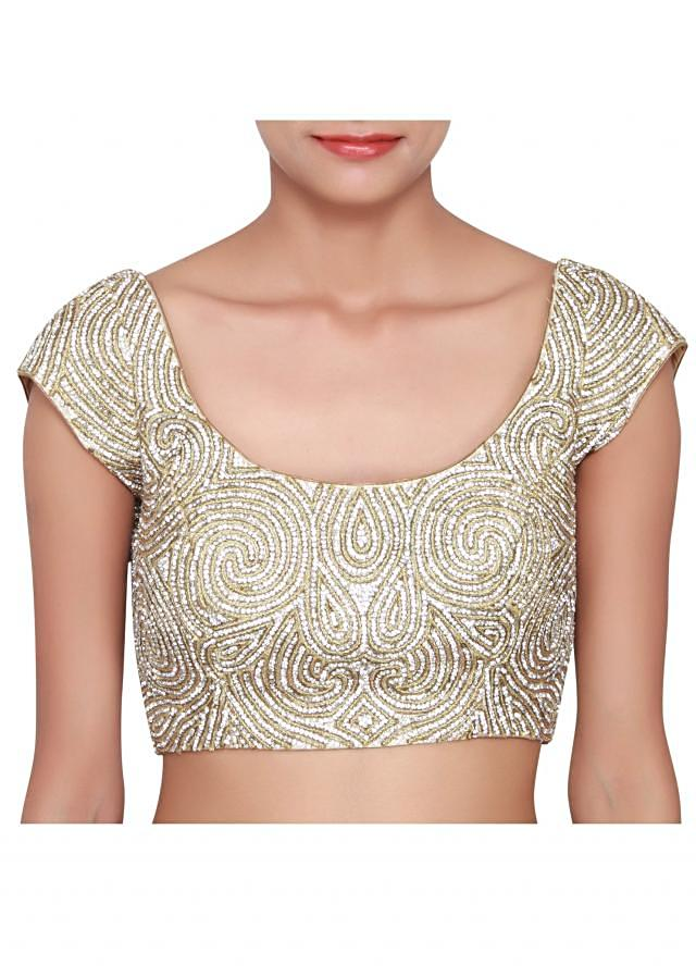 Gold blouse featured in lurex, embellished with zari and stone all-over only on Kalki