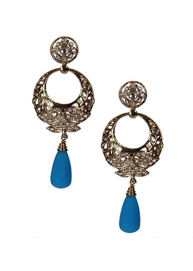 Gold Chandbalis Adorn With Diamonds and Blue Pearl Drop only on Kalki