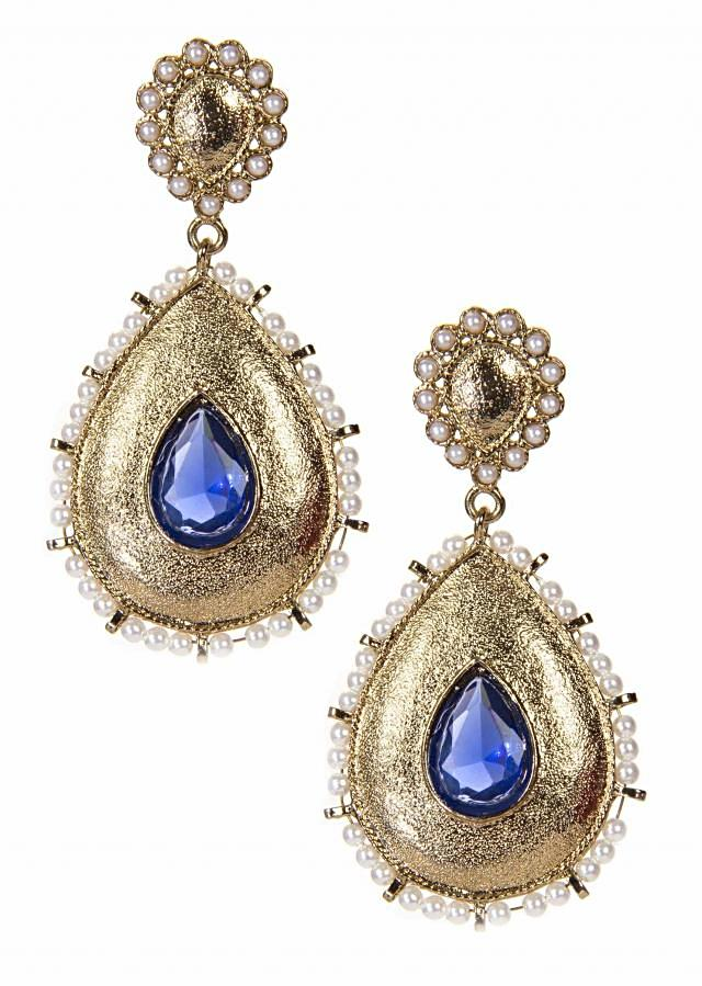 Gold Earring Adorn With White Pearls And Blue Gemstone only on Kalki