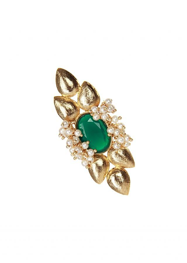 Gold earring set in green emerald and moti only on kalki