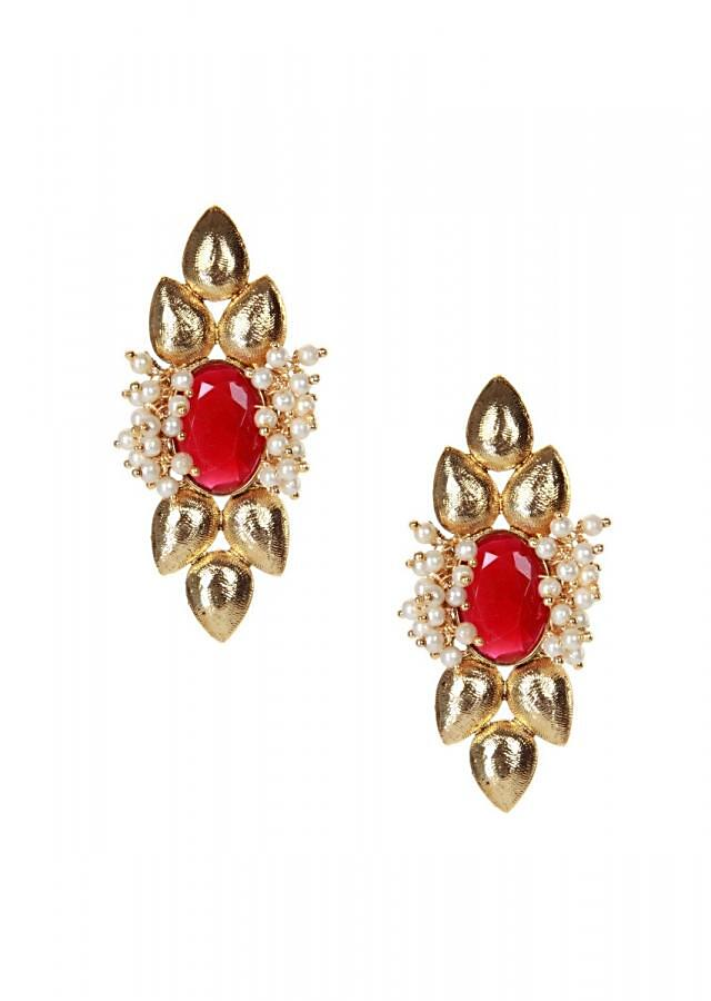 Gold earring set in ruby emerald and moti only on kalki
