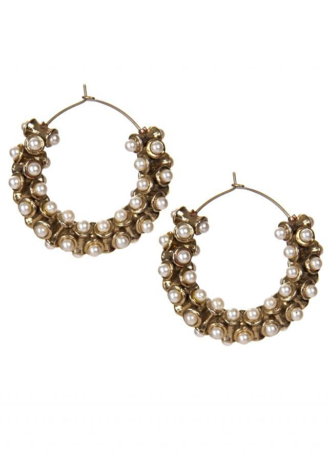 Gold Earrings Embellished in Drum Shaped Jewels Adorn In White Pearls only on Kalki