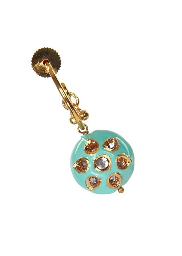 Gold earrings with drop turq blue gemstones adorn with white jewels only on kalki