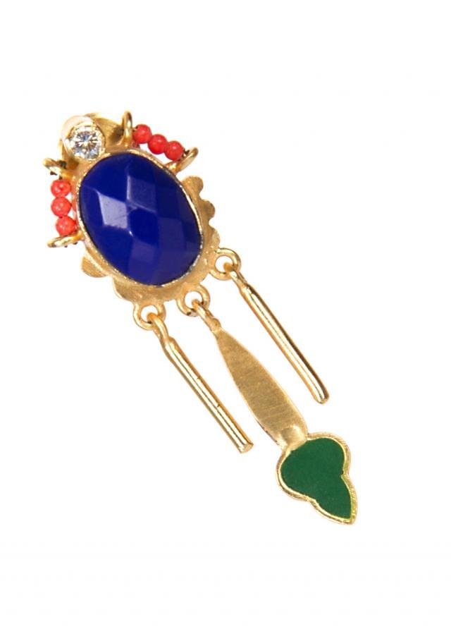 Gold Earrings With Pop Of Colors In Orange, Blue and Green only on Kalki