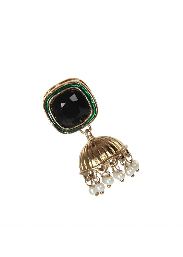 Gold finish black stone and pearl earrings only on kalki
