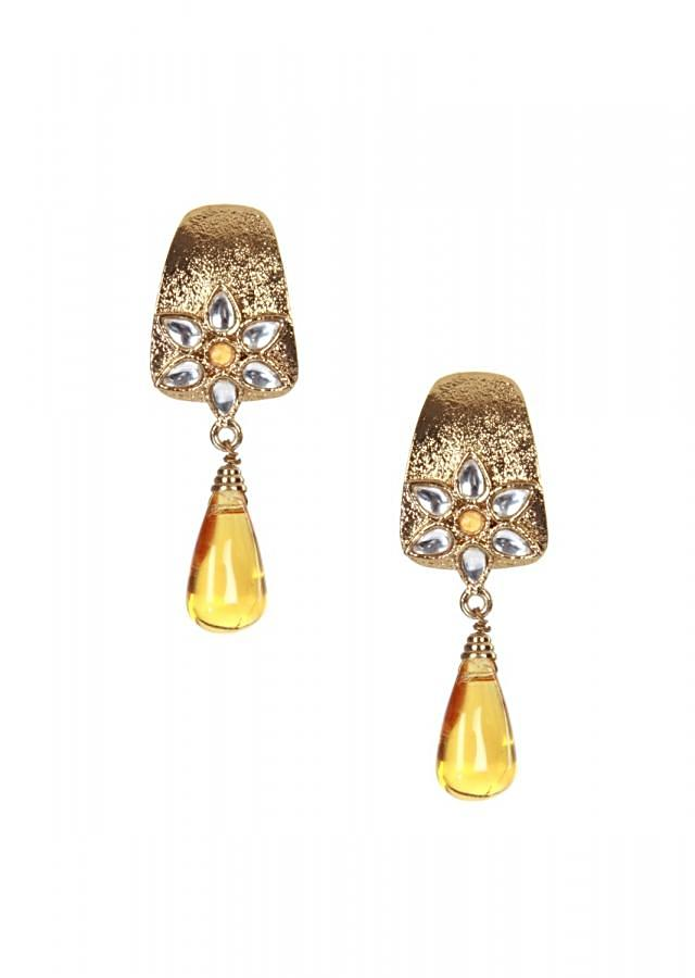 Gold finish earrings with yellow dangler only on kalki