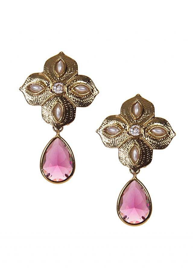 Gold Flower Motif Earring With Pink Drop Stone only on Kalki