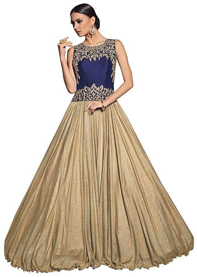 Gold gown with zari embellished bodice only on Kalki