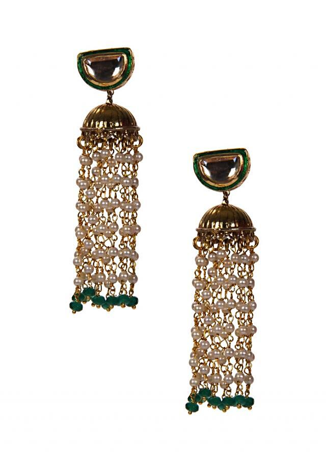 Gold Jhumkis With White Tassels only on Kalki