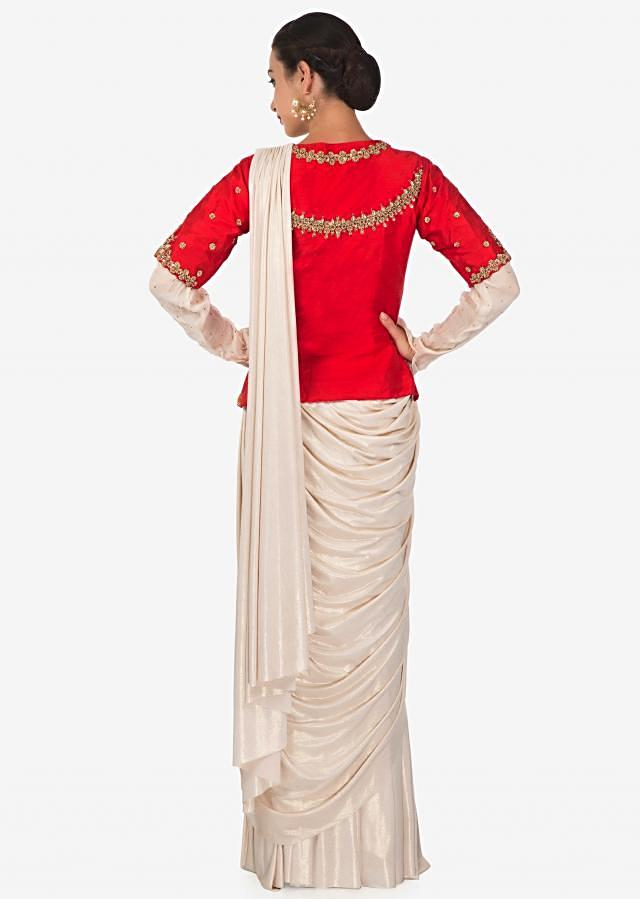 Gold Lehenga Saree In Lycra With Pre Stitched Pallu And Red Raw Silk Embroidered Blouse Online - Kalki Fashion