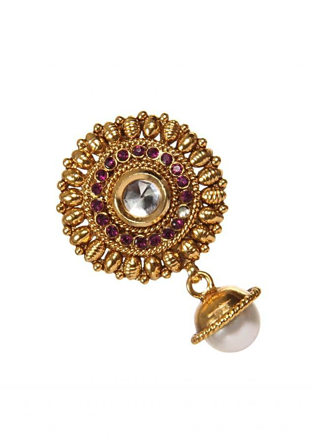 Gold Plated Earring With Pearl Dangler