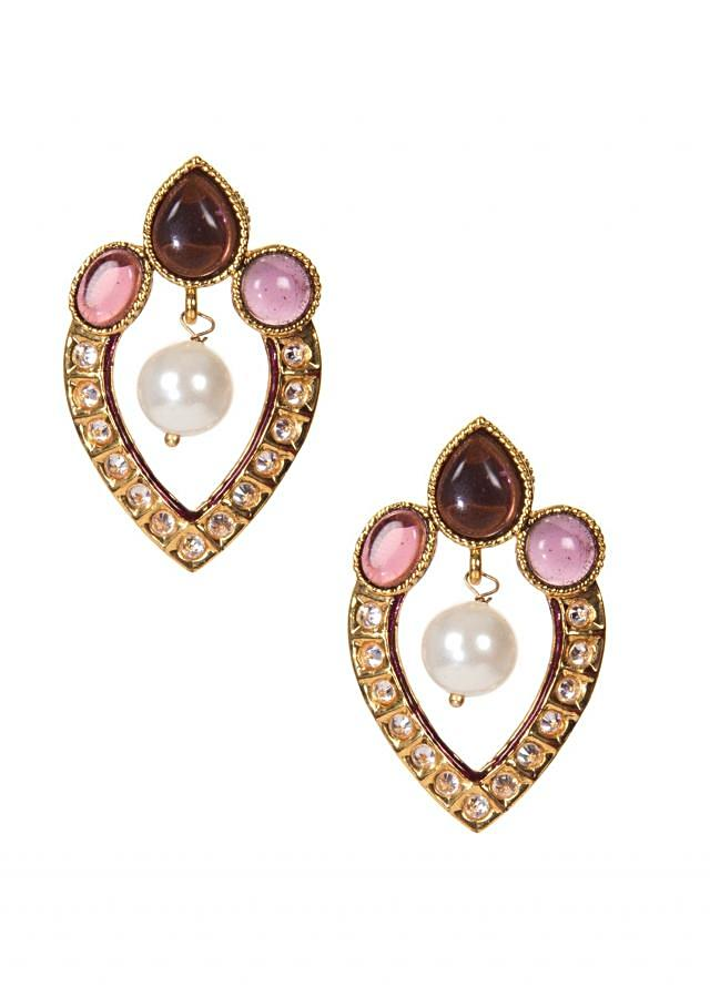 Gold Studs Embellished Using Stones and Kundan only on Kalki