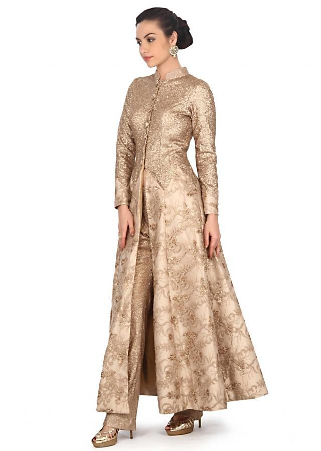 Gold suit adorn in sequin with center slit only on Kalki