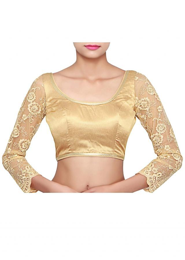 Golden blouse features with embellished sleeve only on Kalki