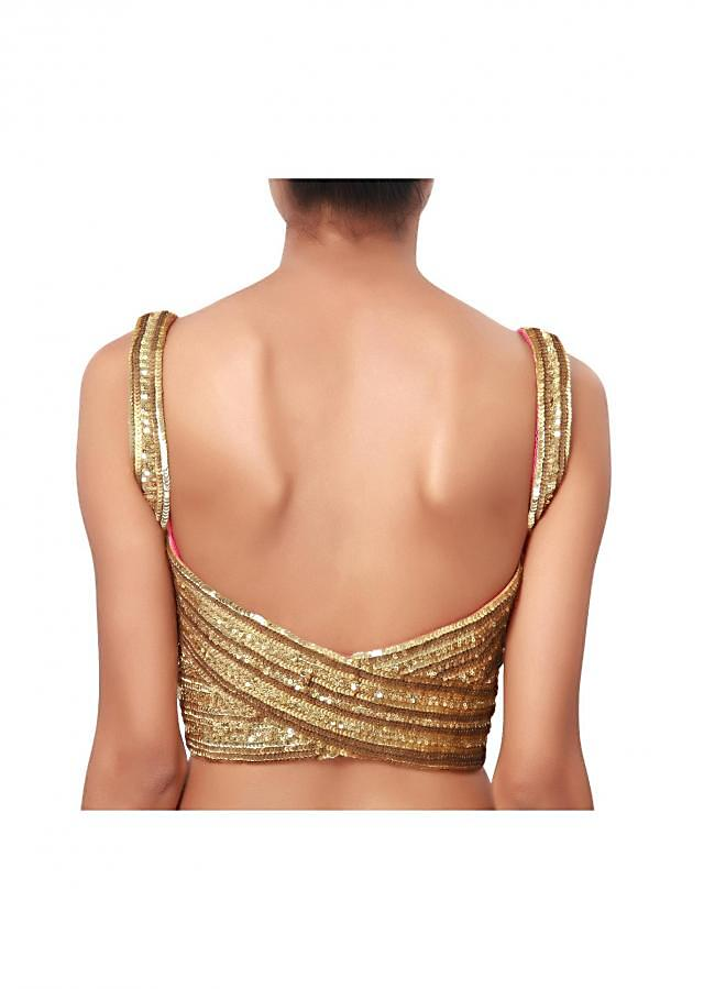 Golden blouse with beautiful sequins work with a wide neck