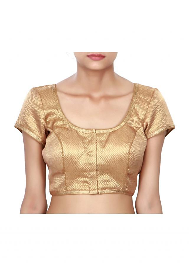 Golden brown princes line blouse with zari lace only on Kalki