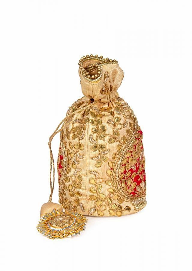 Golden potli bags masterfully rended in gotta patch work kalki
