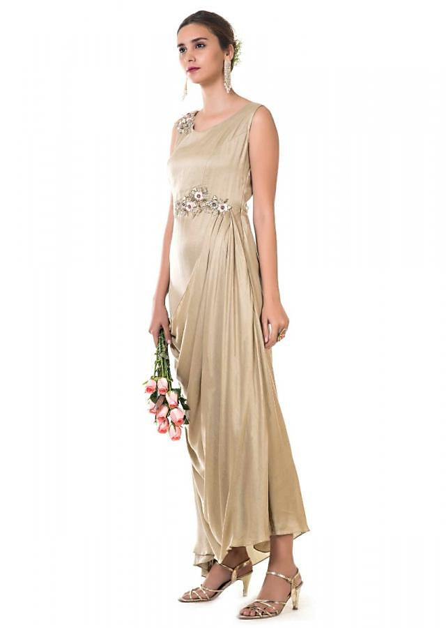 Golden Rose Draped Gown With Floral Embroidery Online - Kalki Fashion
