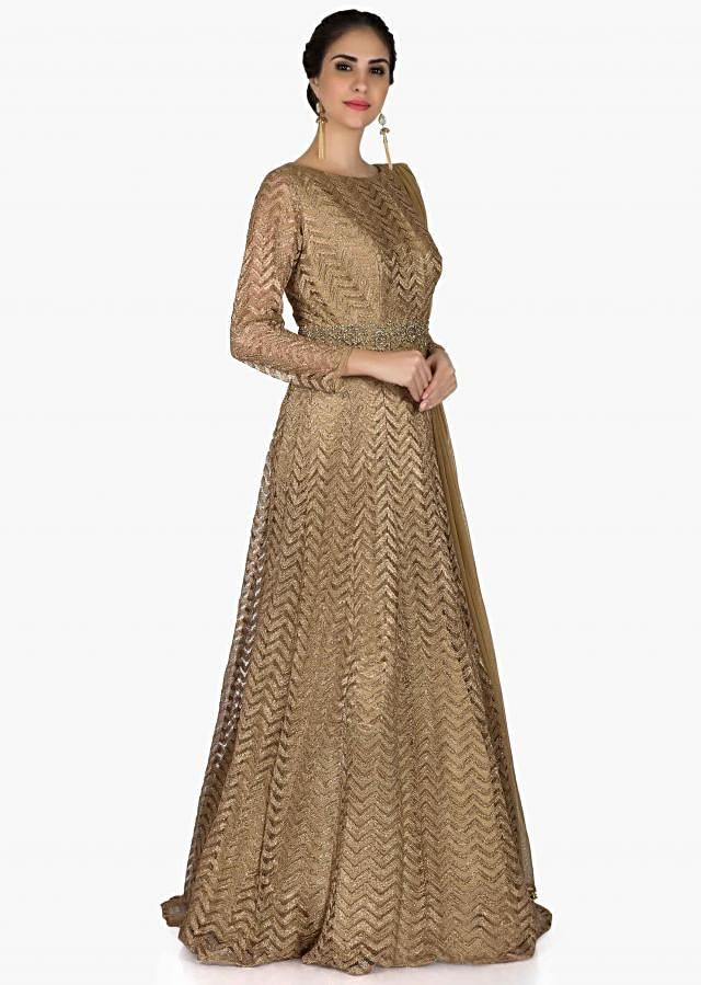 Golden anarkali suit in embroidered net with highlighted waist line only on Kalki