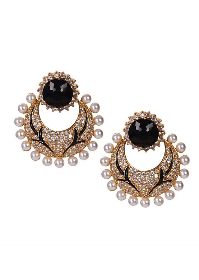 Golden and Black Chandbalis Adorn With Diamonds and White Pearls only on Kalki