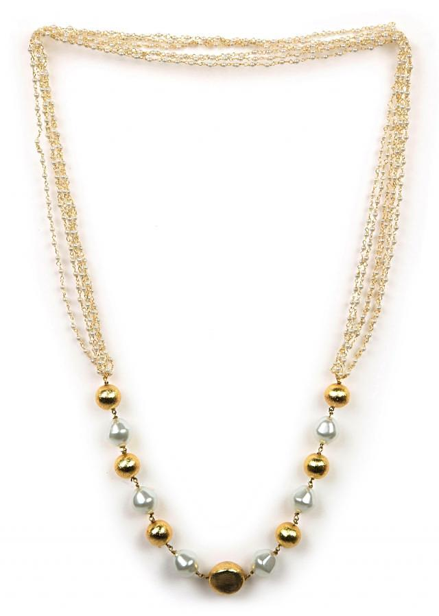 Golden and white beaded necklace only on Kalki