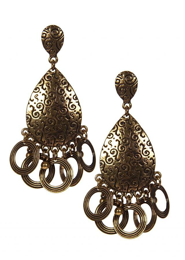 Golden Earrings With Round Shaped Droopers only on Kalki