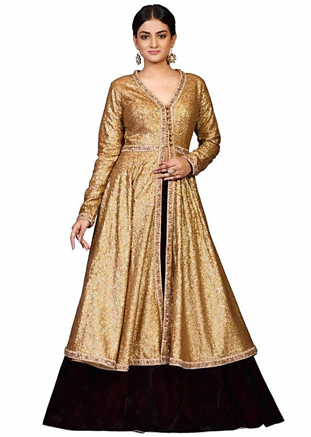 Golden jacket with black lehenga in raw silk featuring in sequin embroidery only on Kalki
